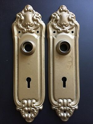 Antique Art Nouveau stamped door back plate escutcheon back plate door hardware
