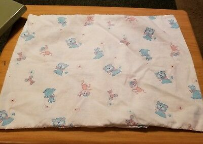 """True Vintage Baby Crib Pillow Case 15"""" x 12"""" Printed Blue and Pink Animals"""