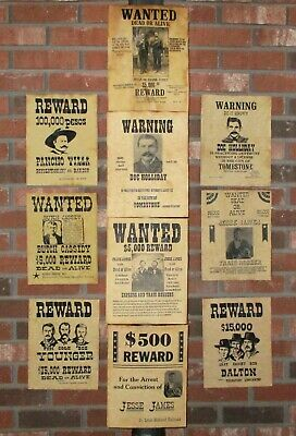 Jesse James Doc Holliday Wanted Posters Tombstone Butch Cassidy Old West 10 Lot