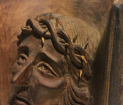 Antique 19th Century Christian Art JESUS CHRIST Hand Carved Wooden Sculpture