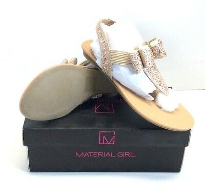 584c927f3ce Material Girl Shayleen Sz 7.5M Rose Gold Rhinestone Bow T-Strap Sandals -G
