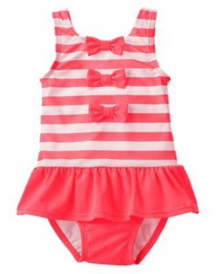 NWT Gymboree Swimsuit Neon Pink Striped bows 12 18mo 2T Toddler Girls