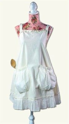 Victorian Trading Co NWOT Provencal Pinafore Apron Ivory Large Pockets 6B