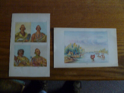 Sac & Fox American Indians-1841 Lithographs-George Catlin-Mississippi-Missouri