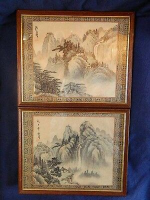Pair of Chinese printed ink on silk pictures