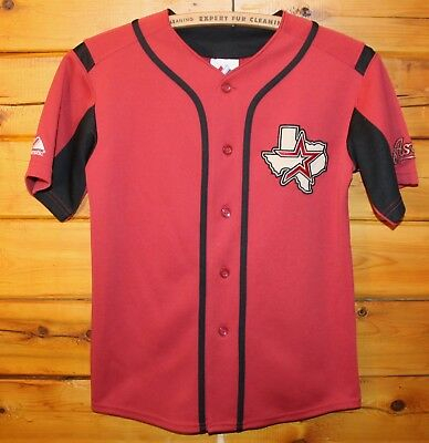 52ed623f1 Houston Astros MLB Majestic Sewn Button Front Jersey Youth Size Medium +