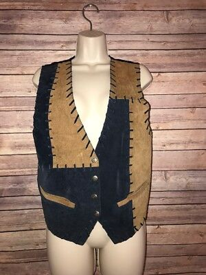 Womens Blue Brown/Camel 100% Leather Suede Vest Western Rodeo Waistcoat Small