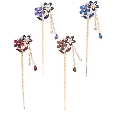 Ancient Chinese Style Women Wedding Flower Crystal Rhinestone Hairpin Sticks