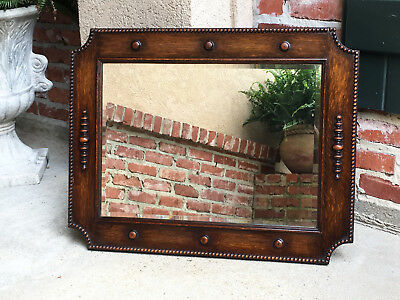 Antique English Carved Oak Beveled WALL MIRROR Beaded Jacobean Arts & Crafts