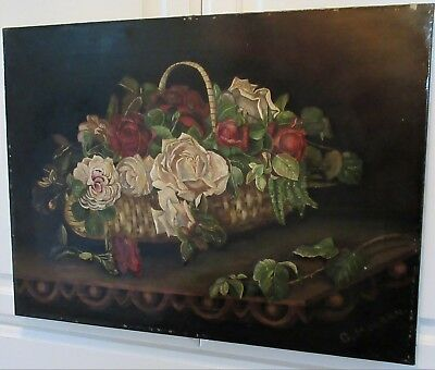 Antique ENGLISH Victorian White & RED ROSES in Basket Oil Painting c1870-80s