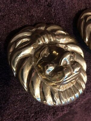 Large Very Heavy Solid Brass Vintage Relief Lion Head SET 2 Pcs