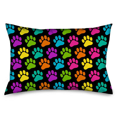 Bright Colored Dog Puppy Paw Prints All Over Pillow Case