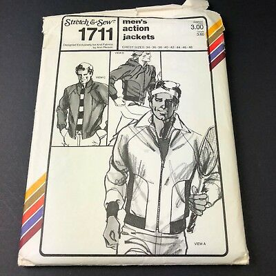 Vintage Stretch & Sew Sewing Pattern #1711 Men's Action Jacket Chest Sizes 34-48
