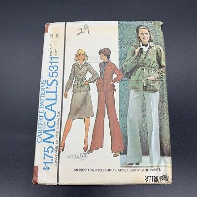 Vintage McCall's Sewing Pattern #5311 Misses Shirt-Jacket Skirt Pants Size 12