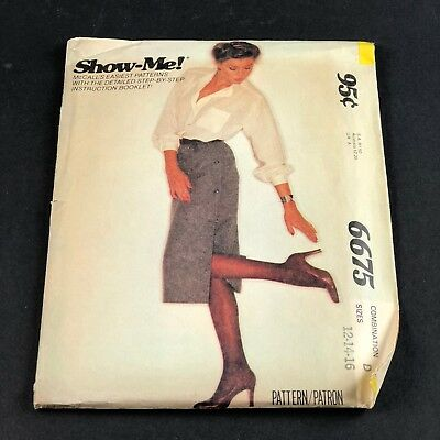 Vintage McCall's Sewing Pattern #6675 Misses Show-Me Skirt Sizes 12-14-16 UNCUT
