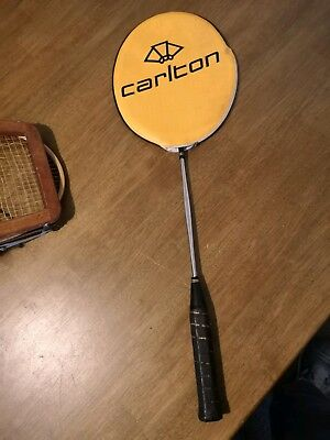 Vintage CARLTON 3.7X steel badminton racket + cover