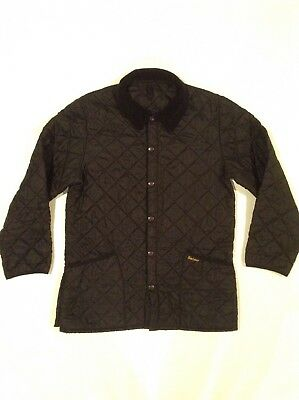 Rare Barbour Heritage Liddesdale Quilted Jacket Black Mens Med Corduroy Button