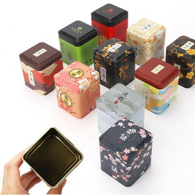 Tea Leaves Iron Square Boxes Metal Tin Cans Herb Stash Jar Sealed Container