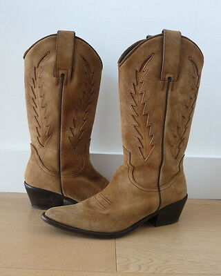 a54e0486a6b MASSIMO DUTTI CAMEL/LIGHT Brown Suede Rider/Western/Cowboy Boots (Size : 37)