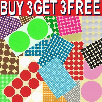 6mm-100mm Coloured Dot Stickers Round Spot Circles Dots Paper Labels Adhesive