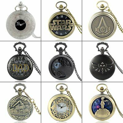 Vintage Steampunk Retro Pocket Watch Quartz Pendant Necklace Chain Antique Mens