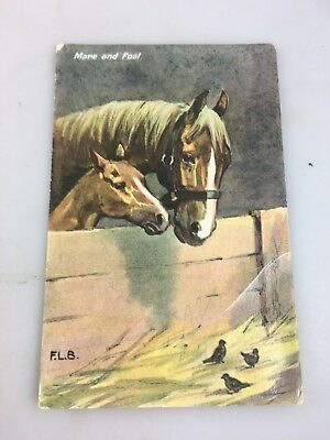 Vintage - Postcard - Mare & Foal - Horses & Little Birds - 1908 - Colour