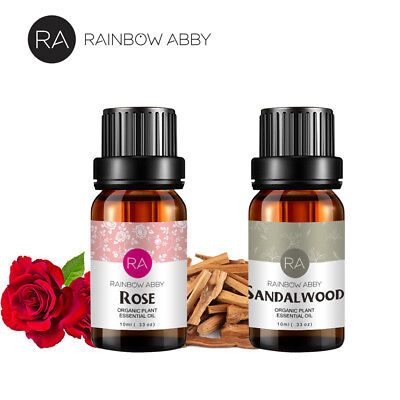 100% Pure Rose Essential Oil Sandalwood Essential Oils Aromatherapy 2x 10ml US