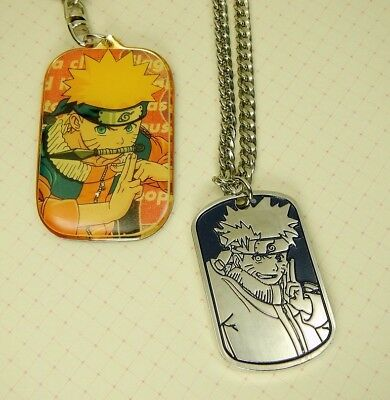 Naruto Anime Dog Tag Silver Tone Metal Necklace + Keychain