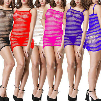 Womens Ladies Transparent Mesh Hollow Bodystockings Bodycon Underwear Dress L
