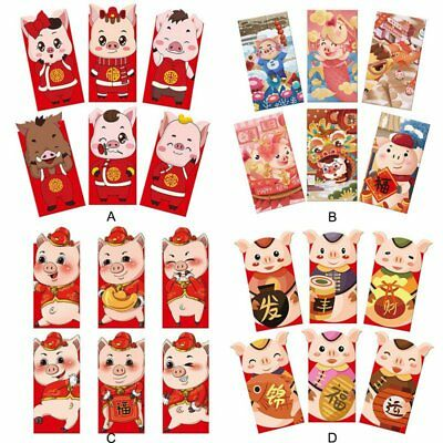 10Pieces Hong Bao Red Packet Mon-ey Lucky Fortune envelope 2019 Chinese New Year