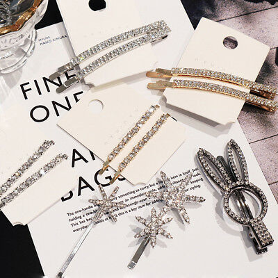 Fashion Women Rhinestone Barrette Hair Clip Stick Hairpin Hair Accessories Gift