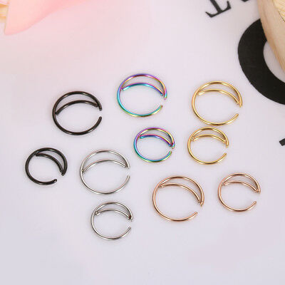 Septum Piercing Cartilage Tragus Earrings Small Nostril Hoop Moon Nose Ring