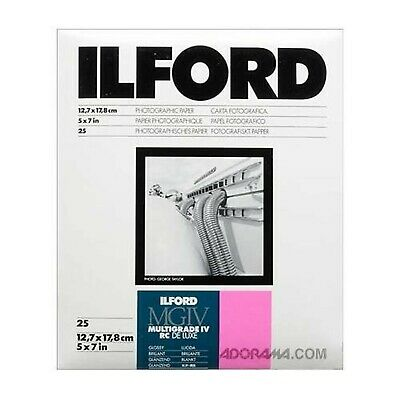 Brand New Ilford 5x7 Multigrade 1M B&W Paper, Glossy Surface, 25 sheets