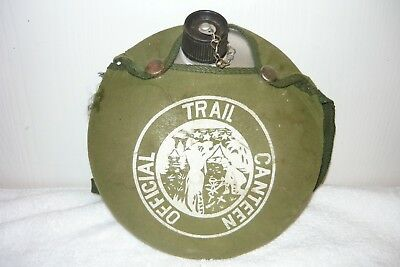 Vintage Boy Scouts Official Camping Canteen w/ Green Canvas Snap Cover & Cap