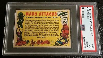 1964 Mars Attacks UK Checklist #55 PSA 3 MK England A&BC 1962 Topps abc Rare