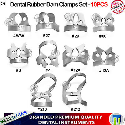 Set of 10 Rubber Dam Clamps Set for Tooth Isolation Dentists Endodontics Clamp