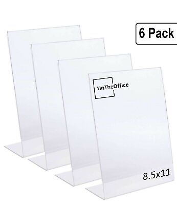 "1InTheOffice Slanted Sign Holder 8.5 x 11""6 Pack"" (Slanted Vertical)"
