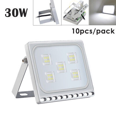 10X 30W Slim LED Floodlight Outdoor Security Lamp Super Bright Spot Cool White