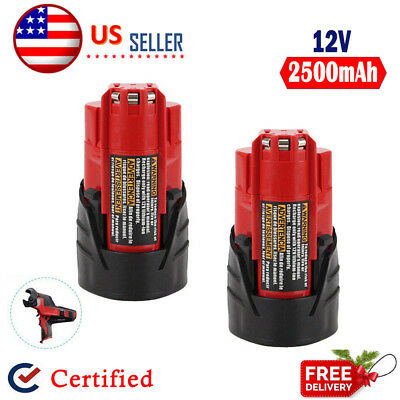 2x 12V Replacement For Milwaukee 48-11-2460 48-11-2412 M12 2.5Ah Lithium Battery