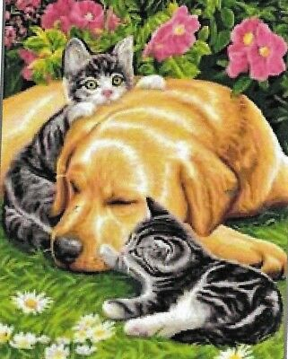 NEW  Honey colored Labrador & Kittens  tapestry canvas to stitch 37 X 47.5CM