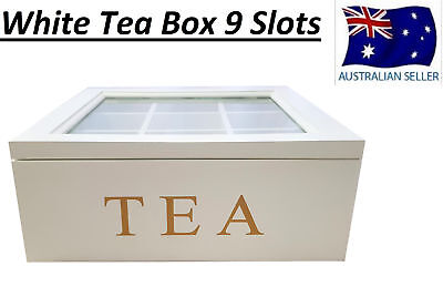 White Wooden Tea Box Container Glass Lid 9 Divisions Holds 90 Bags Hw325