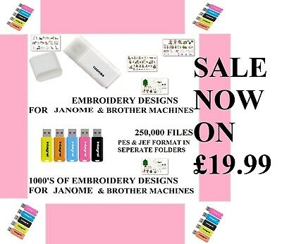 250,00 EMBROIDERY DESIGNS ON USB, BROTHER BABYLOCK JANOME pes & jef format