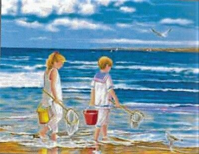 """NEW """" DAY AT THE BEACH""""  tapestry canvas to stitch 37 X 47.5CM-IMPORTED CANVAS"""