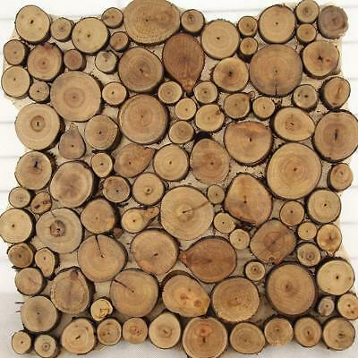 Pine Wood Slice Round Disc Tree Bark Wooden Circles w/ Rope