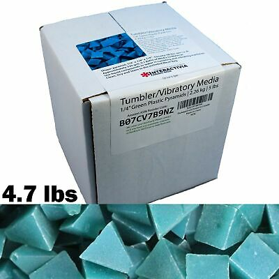 1/4 inch Green Plastic Resin Pyramid (Approx 320 grit) Tumbling Or Vibratory Med
