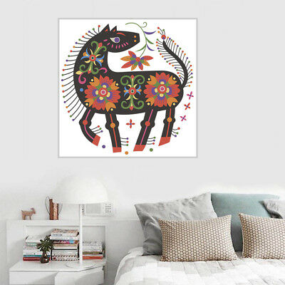 Flower Horse Canvas Art Painting Unframed Poster Picture Home Bar Wall Decor