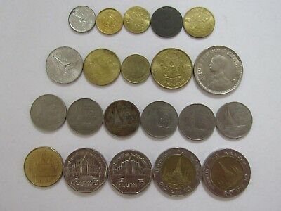 Lot of 21 Different Thailand Coins - 1946 to 2013 - Circulated