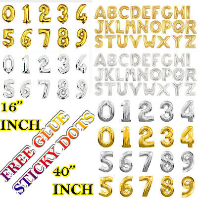 """16"""" 40"""" Silver Gold Helium Foil Balloon Birthday Party A-Z Letter And 0-9 Number"""