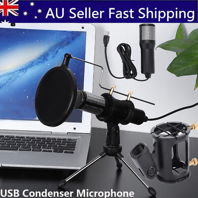 Condenser microphone USB studio broadcast podcast mic with Tripod Stand for Game