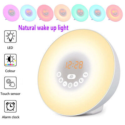 Natural Wake-Up Light Sunrise Simulation Alarm Clock USB LED FM Radio Night Lamp